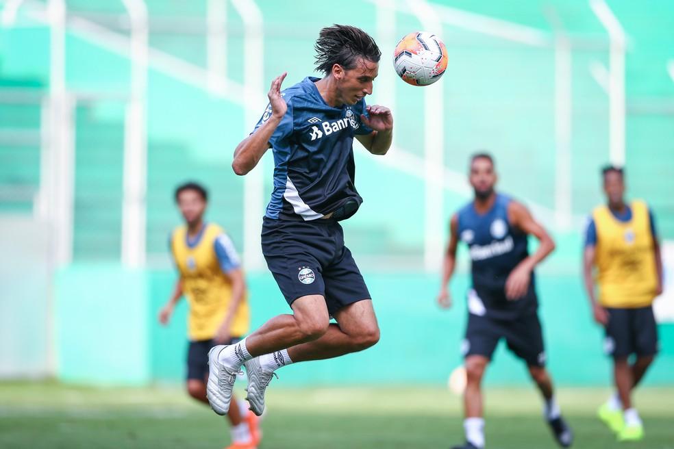 Geromel em rachão do Grêmio na Colômbia — Foto: Lucas Uebel/Grêmio