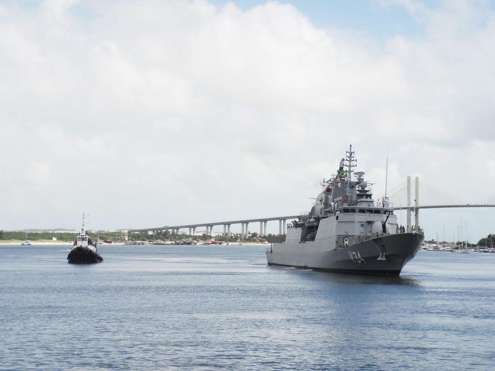 Corveta Barroso ficará em Natal até o domingo, quando parte para missão de paz no Líbano (Foto: Divulgação/Marinha do Brasil)