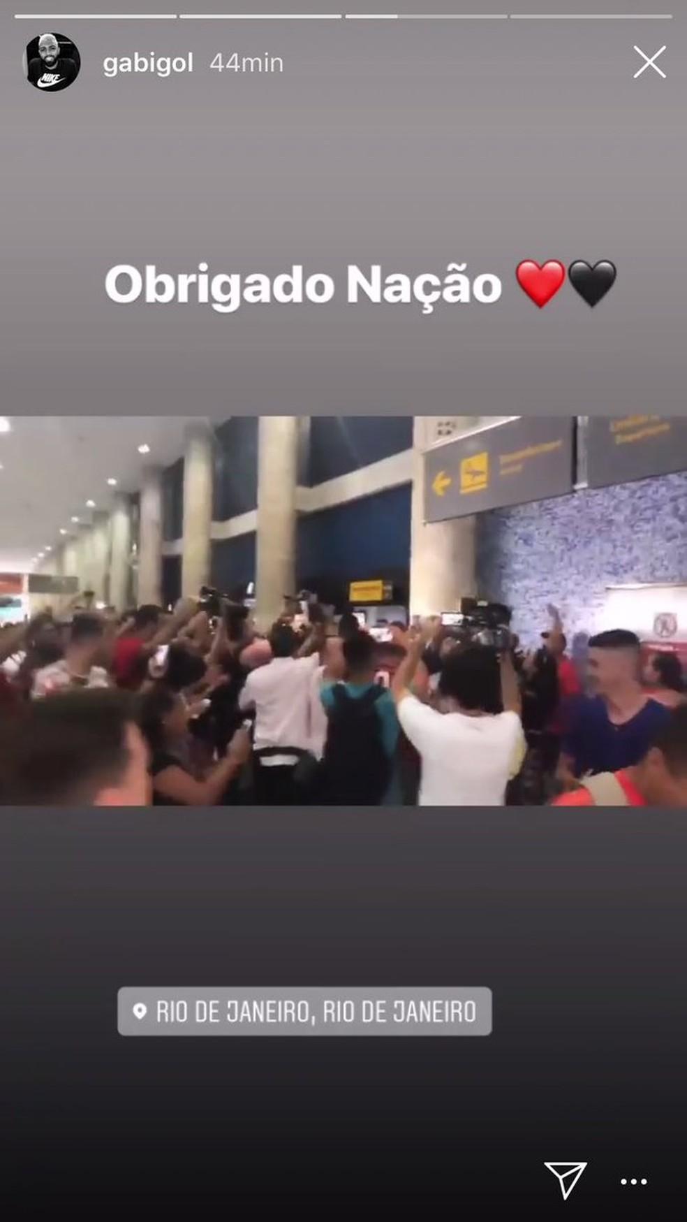 Gabigol agradece recepção na chegada ao Rio — Foto: Reprodução / Instagram