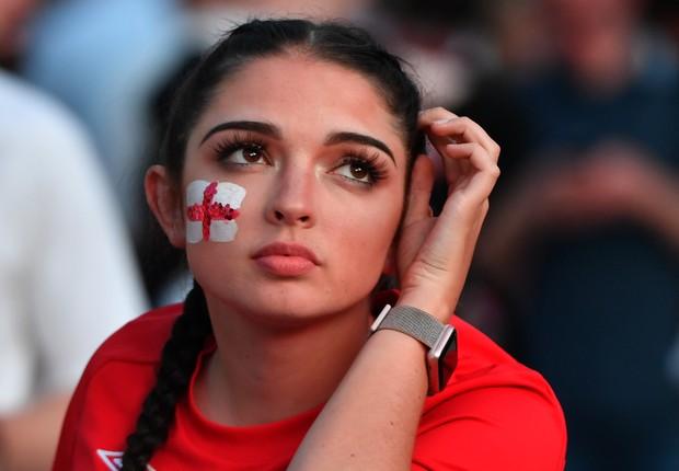 Torcedora inglesa na Copa do Mundo. Fifa está preocupada com a situação das mulheres na Rússia (Foto: Anthony Devlin/Getty Images)