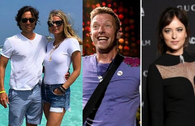 A atriz Gwyneth Paltrow e o produtor de TV Brad Falchuk e o músico Chris Martin com a atriz Dakota Johnson (Foto: Instagram/Getty Images)