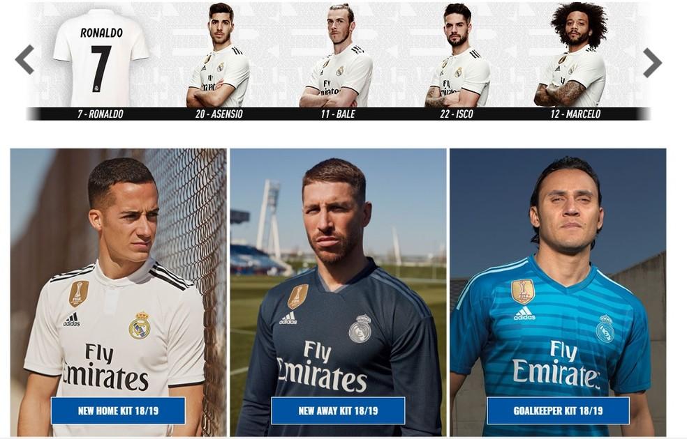 Novas camisas do Real Madrid: branca, preta, azul de goleiro e só uma referência a Cristiano Ronaldo, sem o próprio para promover as vendas no site (Foto: Reprodução)