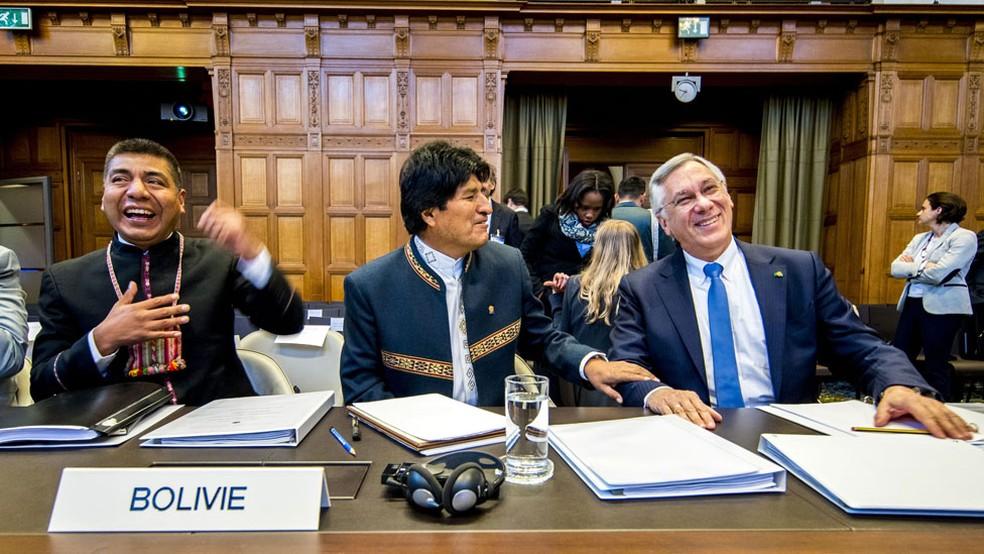 Presidente da Bolívia, Evo Morales acompanhou a argumentação final de seu país no Tribunal de Haia (Foto: Getty Images)