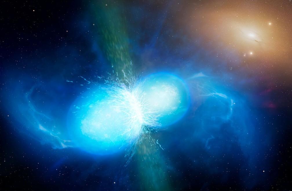 Ilustração mostra duas estrelas de nêutrons colidindo (Foto: University of Warwick/Mark Garlick)
