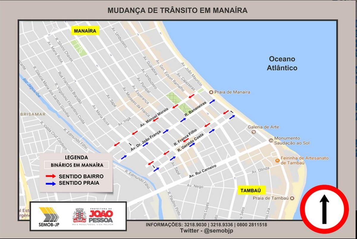Manaíra, em João Pessoa, tem cinco vias alteradas a partir desta quinta (9)