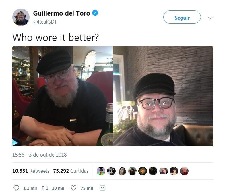 Guillermo del Toro se veste como George R.R. Martin e mostra resultado no Twitter (Foto: Guillermo del Toro/Twitter)