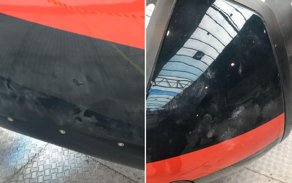 Digitais localizadas na fuselagem do helicóptero usado na execução de Gegê do Mangue (Foto: Divulgação)