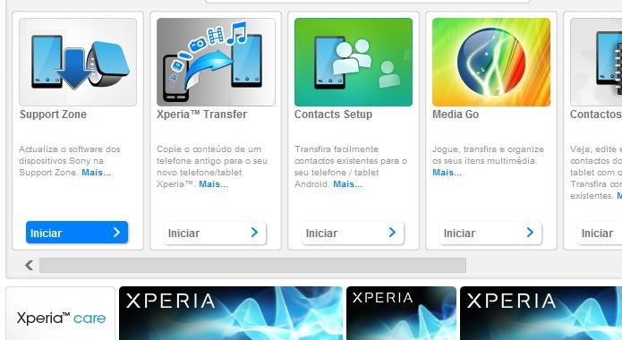 Tela inicial do software de gerenciamento da Sony (Foto: Reprodução/Bruno Quevedo)
