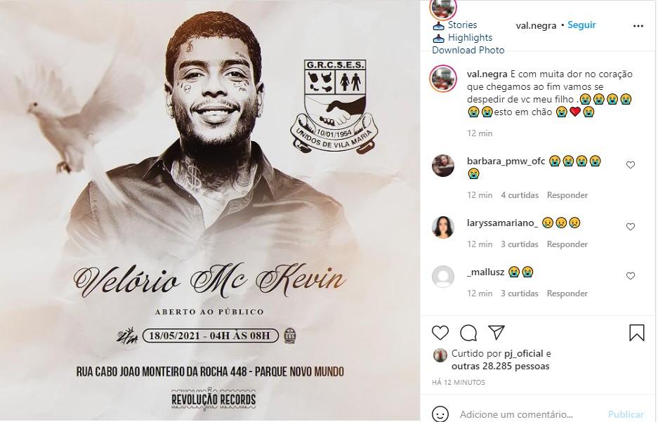 O post de Valquíria Nascimento, mãe de MC Kevin (Foto: Reprodução  Instagram)