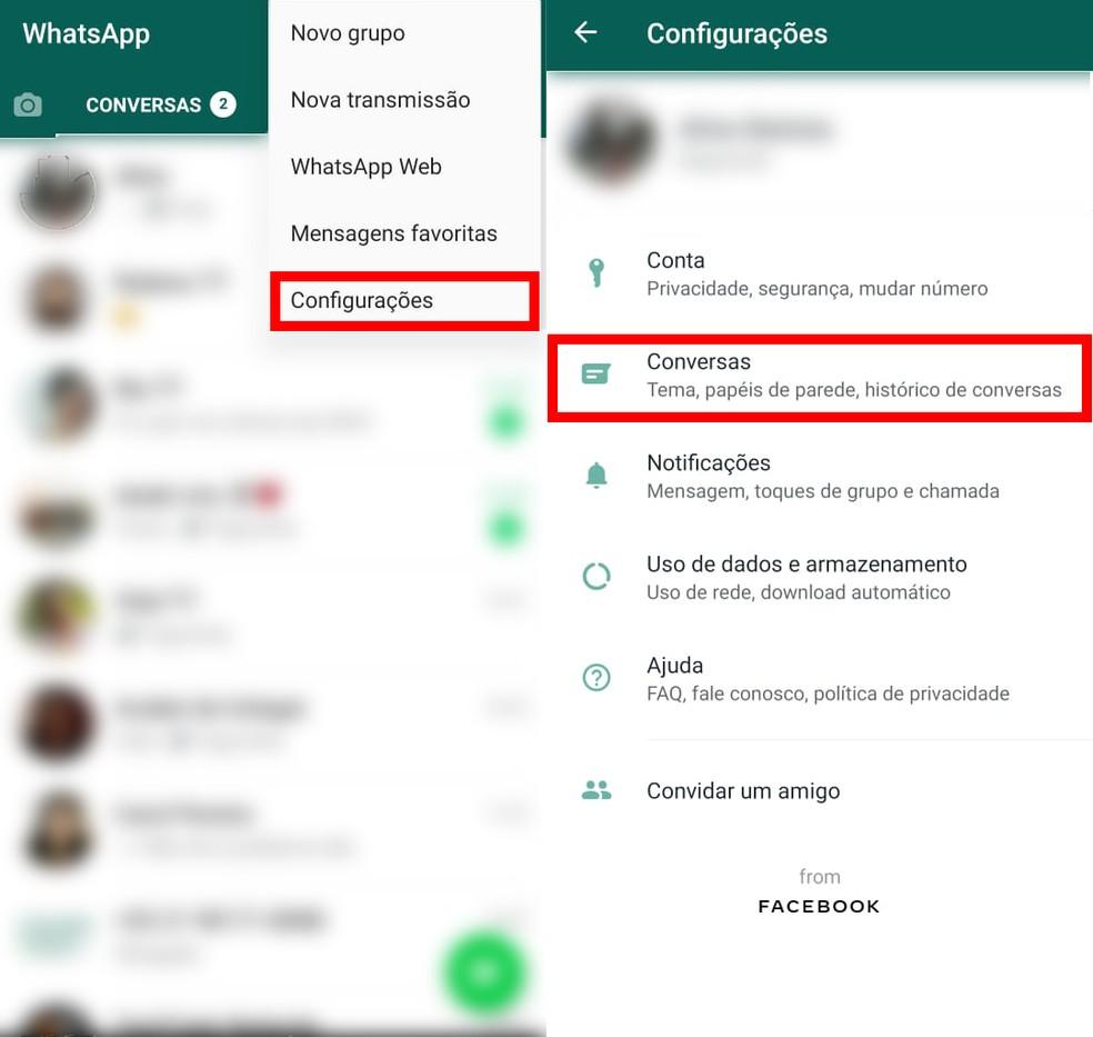 """Acesse as Configurações e toque em """"Conversas"""" para deixar o WhatsApp escuro — Foto: Reprodução/TechTudo"""