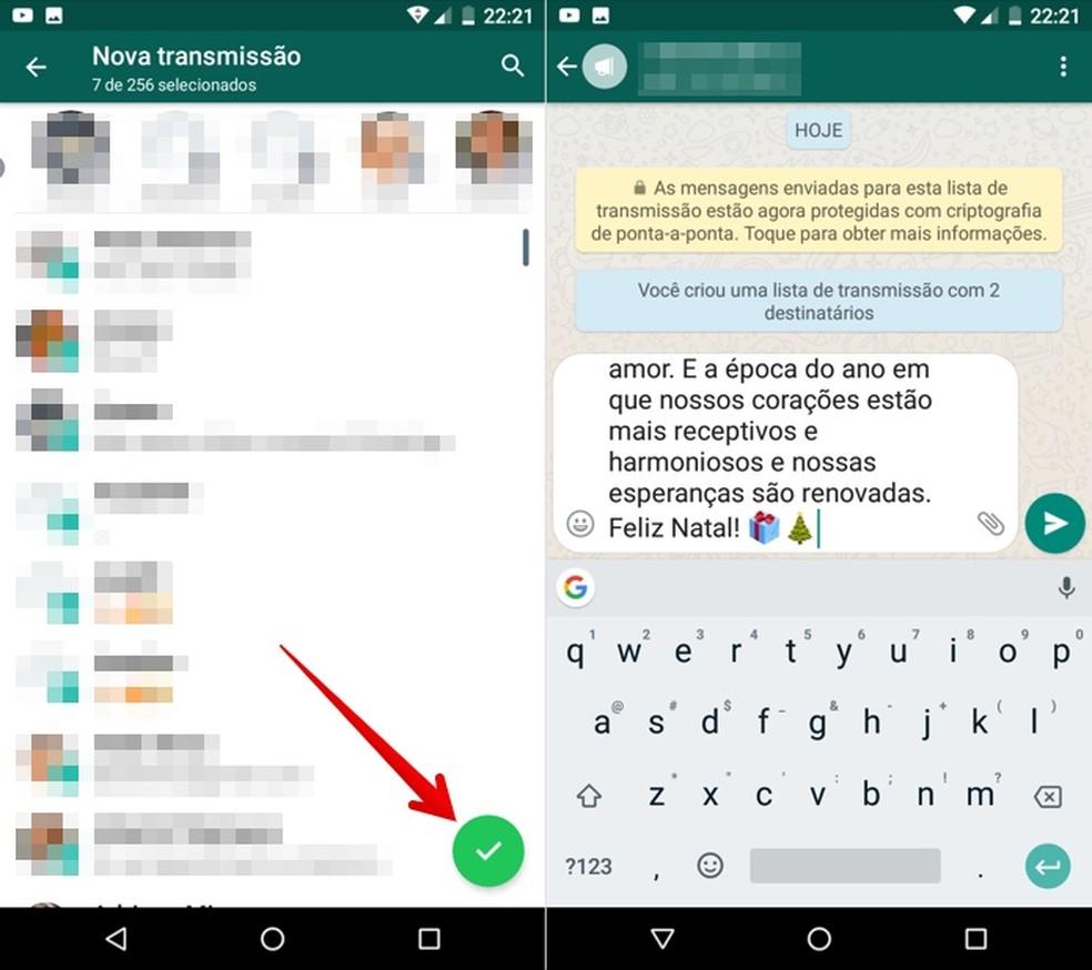 Selecione os contatos e envie a sua mensagem no WhatsApp para Android — Foto: Reprodução/Helito Beggiora