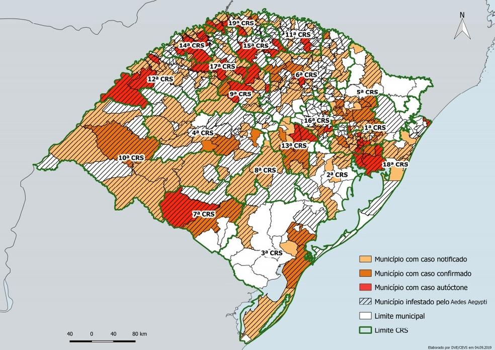Mapa das cidades com casos de dengue até 31 de agosto de 2019 — Foto:  Sinan Online