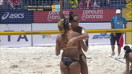 Pontos finais:Maria Eliza/Carol 2x1 Ágatha/Duda pelo bronze no circuito de vôlei de praia