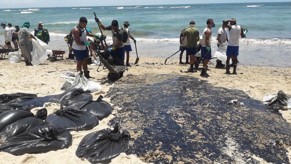 Praia do Paiva passa por limpeza, na segunda-feira (21), após ser atingida por óleo — Foto: Luna Markman/GloboNews