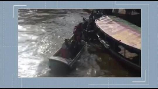 Em Barcarena, no PA, rabeta naufraga enquanto tripulantes tentam escapar; confira o vídeo