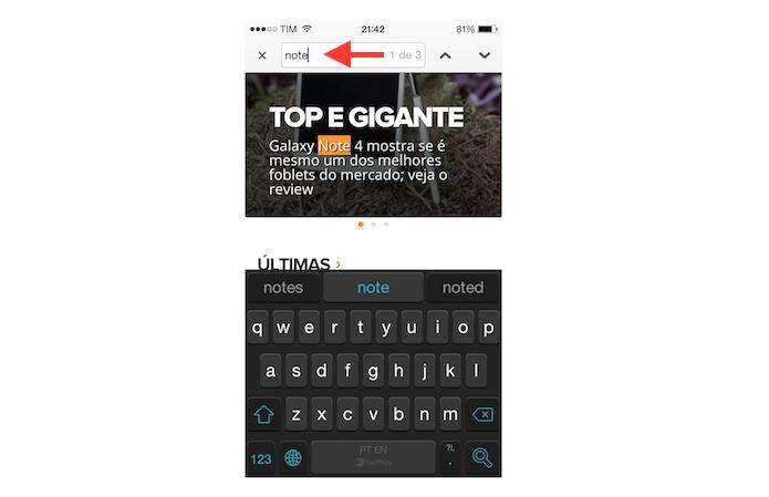 Buscando por uma palavra ou termo no Chrome para iOS (Foto: Reprodução/Marvin Costa)