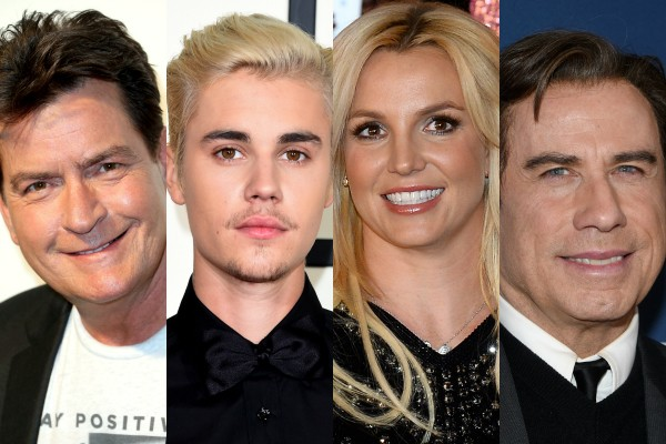 Charlie Sheen, Justin Bieber, Britney Spears e John Travolta  (Foto: Getty Images)