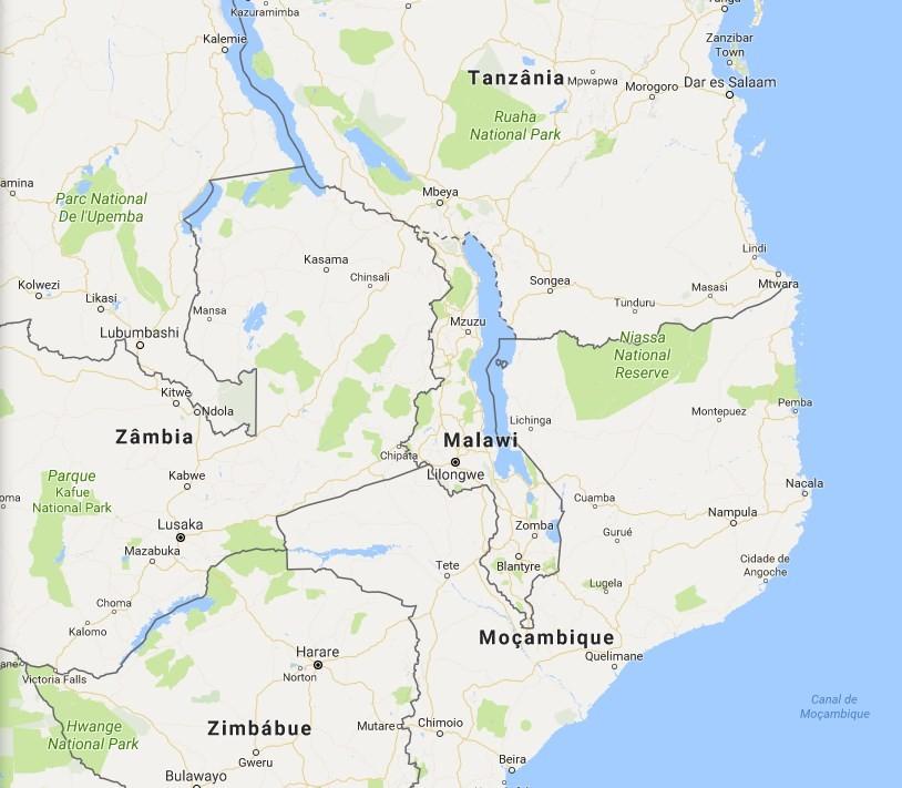 Localização do Malauí