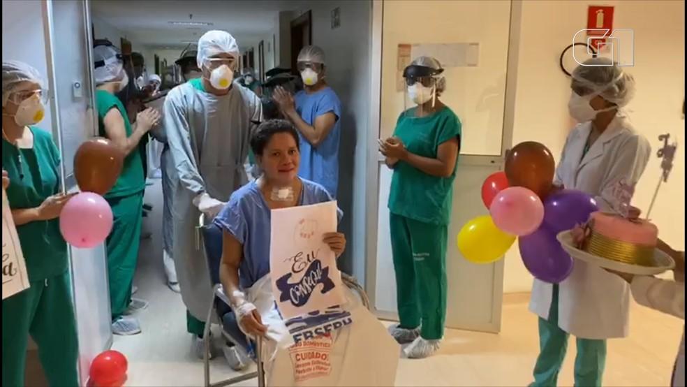 Jociele Serra Pinheiro, de 38 anos, foi a primeira paciente a ser internada na UTI de Covid-19 do Hospital Universitário em São Luís (MA). — Foto: Divulgação/Redes sociais