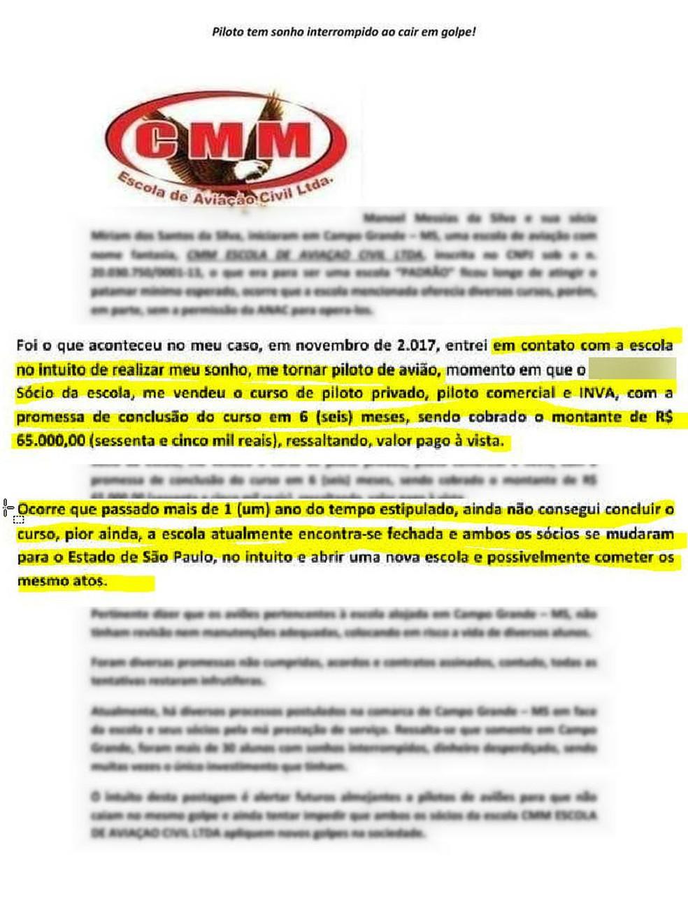 Pilotos fizeram documento e divulgaram nas redes sociais falando dos prejuízos com escola de aviação em MS — Foto: Polícia Civil/Divulgação