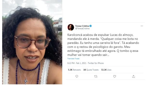 A cantora Teresa Cristina criticou a postura de Conká e o tratamento ofensivo que ela tem dado ao ator Lucas Penteado (Foto: Reprodução)