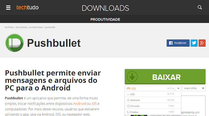 Instalando o Pushbullet a partir do TechTudo Downloads (Foto: Reprodução/Edivaldo Brito)