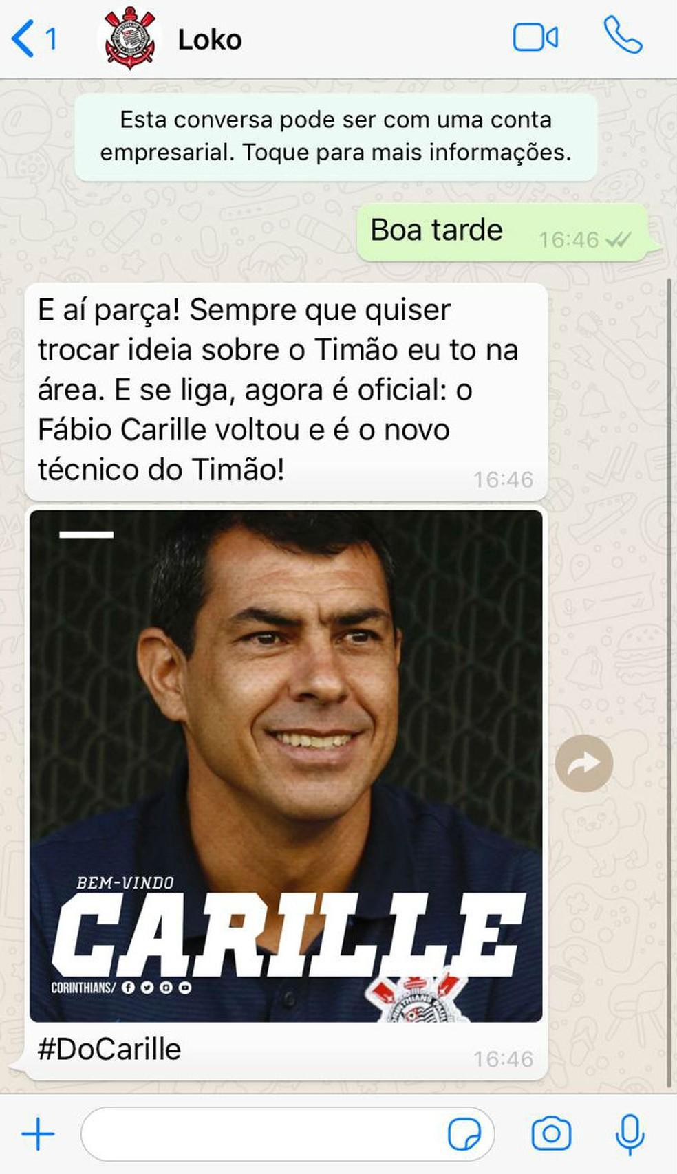 Carille está de volta; anúncio do Corinthians foi feito pelo WhatsApp — Foto: reprodução