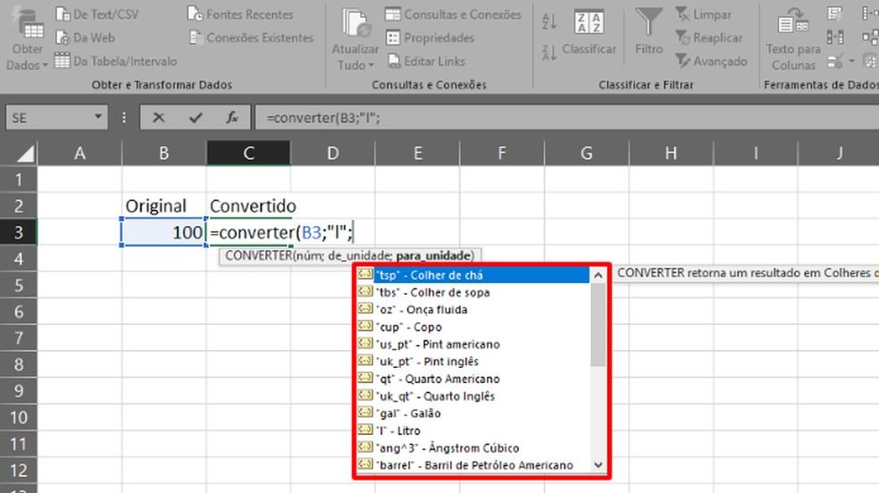 """Após digitar o segundo """";"""" de """"=CONVERTER(X;""""Y"""";"""", escolha a medida em que o valor será convertido (Foto: Reprodução/Daniel Ribeiro)"""