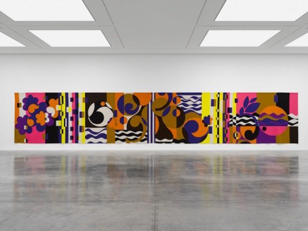 Tapeçaria de Beatriz Milhazes em exposição na White Cube em Londres (Foto: White Cube/Ben Westoby)