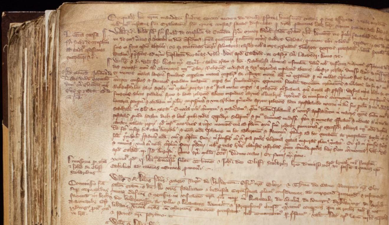 Registros dos arcebispos de York do século 16. (Foto: Universidade de York)