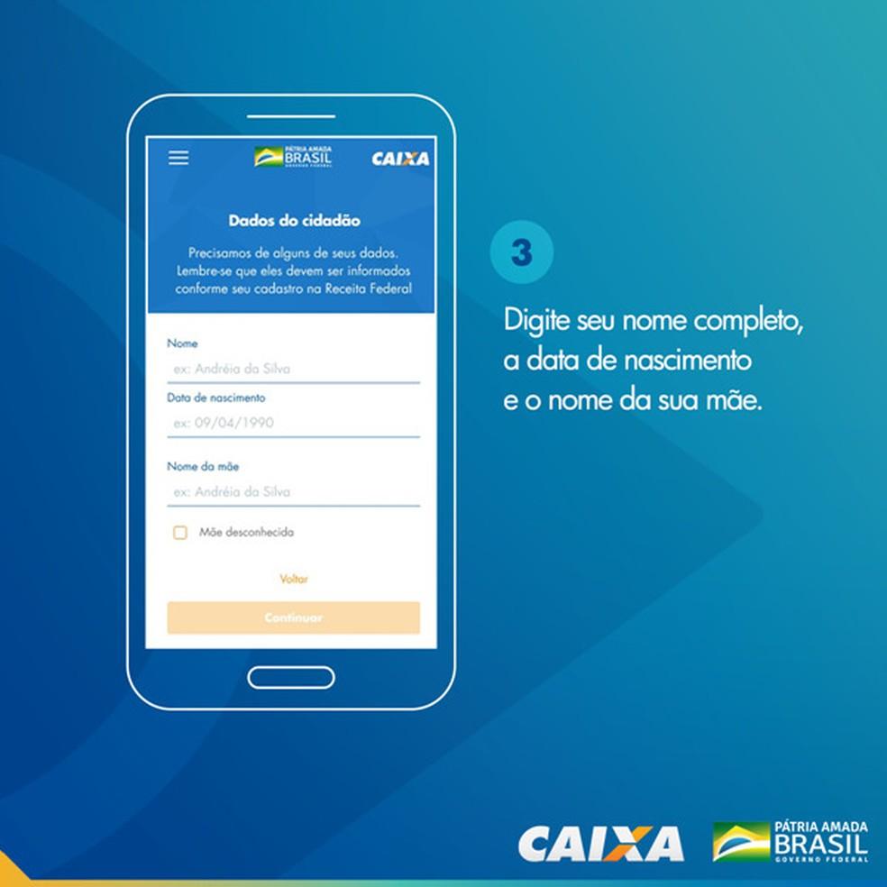Tela 3 para pedir abertura da poupança social digital — Foto: Divulgação Caixa