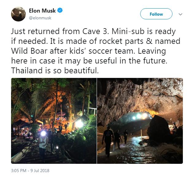 Tweet de Musk sobre sua chegada à Tailândia (Foto: Reprodução/Twitter)