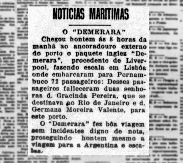 Jornal do Recife com a manchete sobre a chegada do navio ao Brasil (Foto: Biblioteca Nacional)