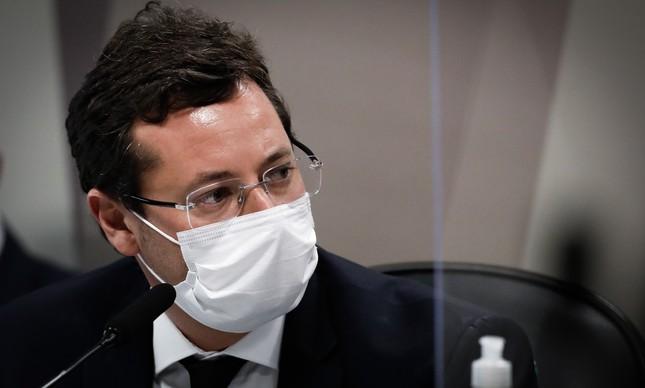 Fabio Wajngarten durante CPI da Covid