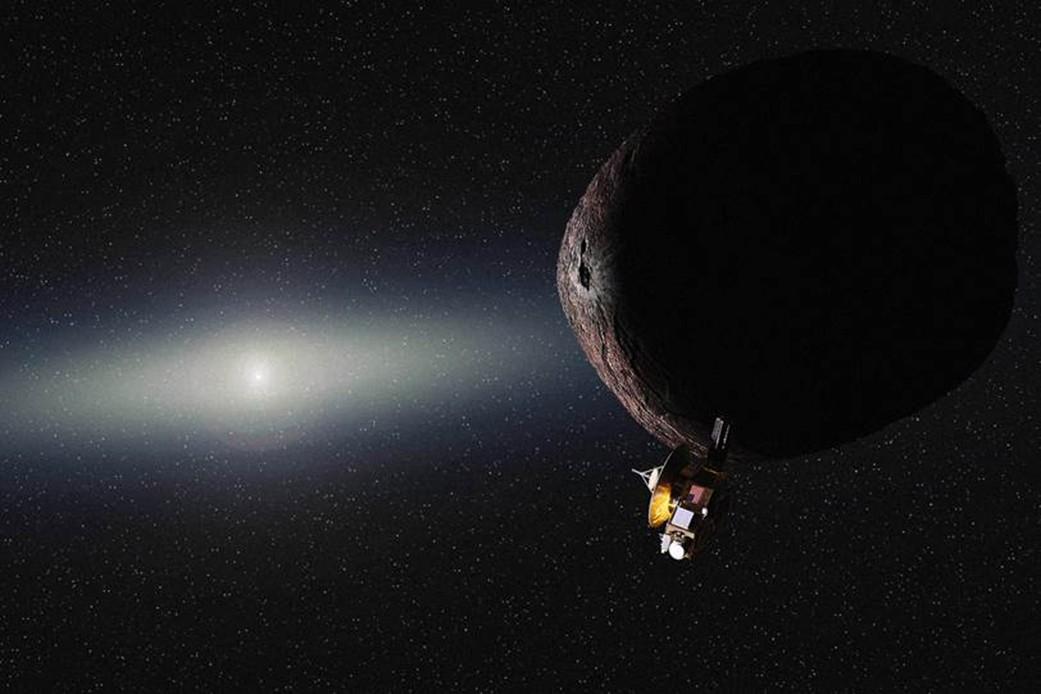 Concepção artística mostra sonda New Horizons chegando ao longínquo objeto 2014 MU69, no Cinturão de Kuiper (Foto: NASA/JHUAPL/SwRI/Alex Parker)