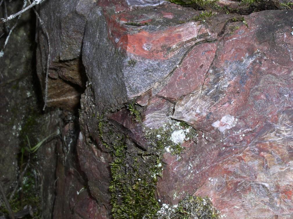 Formação em Mink Mountain, Canadá, onde a forma de vida foi encontrada: aspecto avermelhado indica alto teor de ferro na rocha — Foto: Lara Maldanis