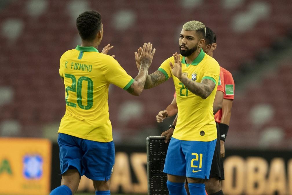 Gabigol substituiu Roberto Firmino na última vez que atuou pela Seleção, em 2019 — Foto: Lucas Figueiredo / CBF