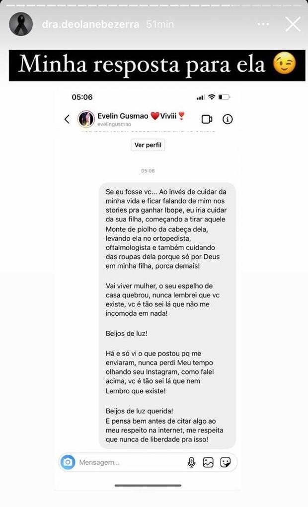 Mensagens trocadas por Deolane Bezerra e Evelin Gusmão (Foto: Reprodução/Instagram)