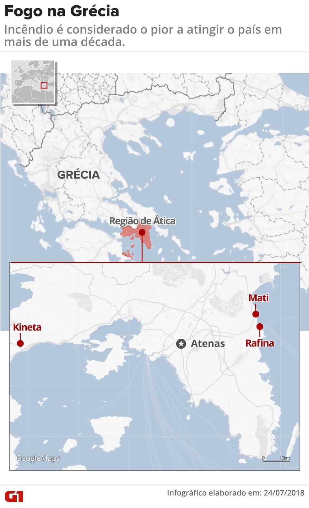 Mapa mostra focos de incêndios florestais na Grécia (Foto: Claudia Peixoto/G1)