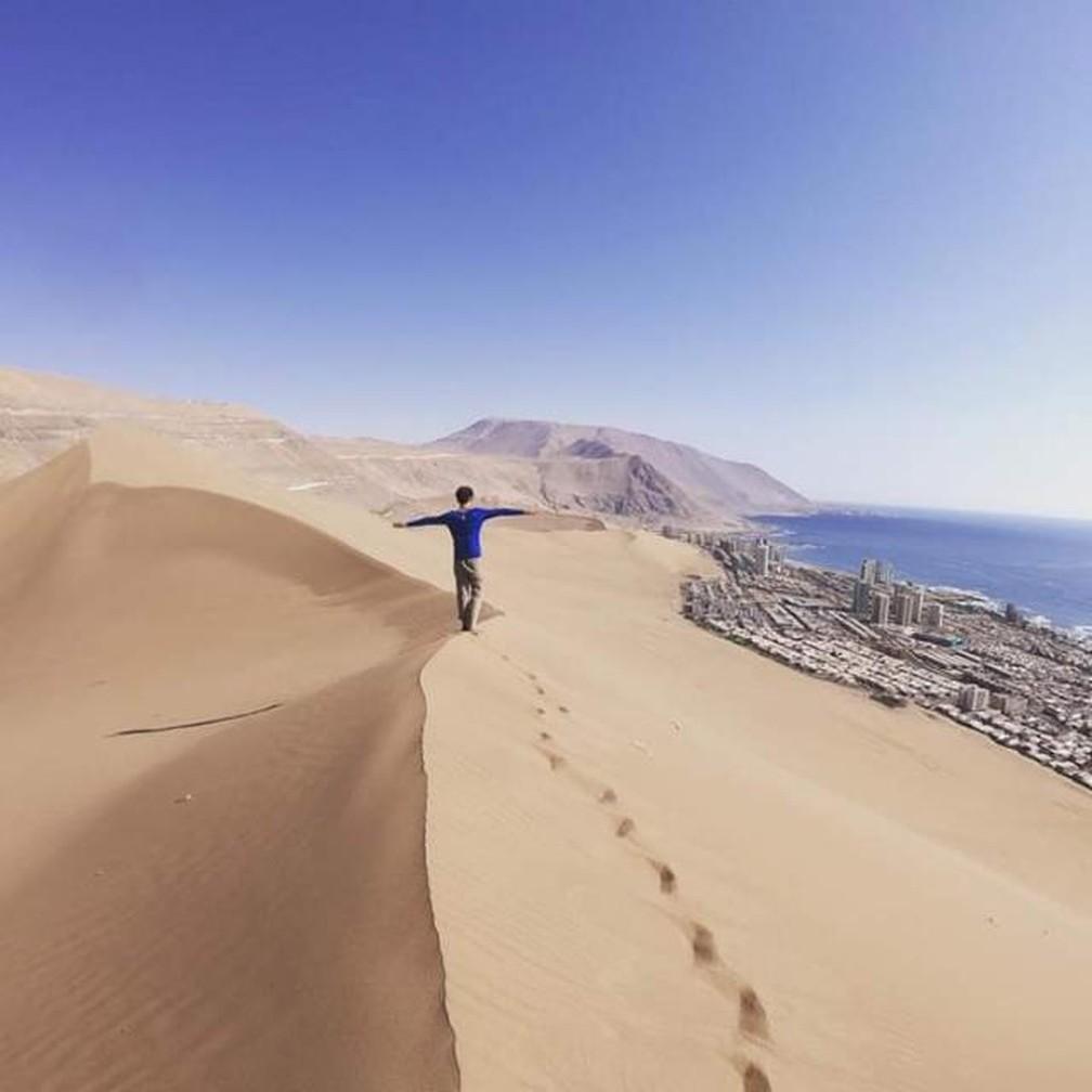 Gabriel passou pelo Chile e continuou viajando pegando caronas — Foto: Gabriel Dias da Silva/Arquivo pessoal