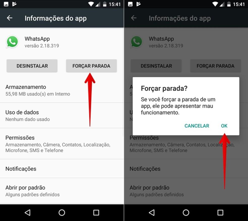 Finalize a execução do app WhatsApp — Foto: Reprodução/Helito Beggiora