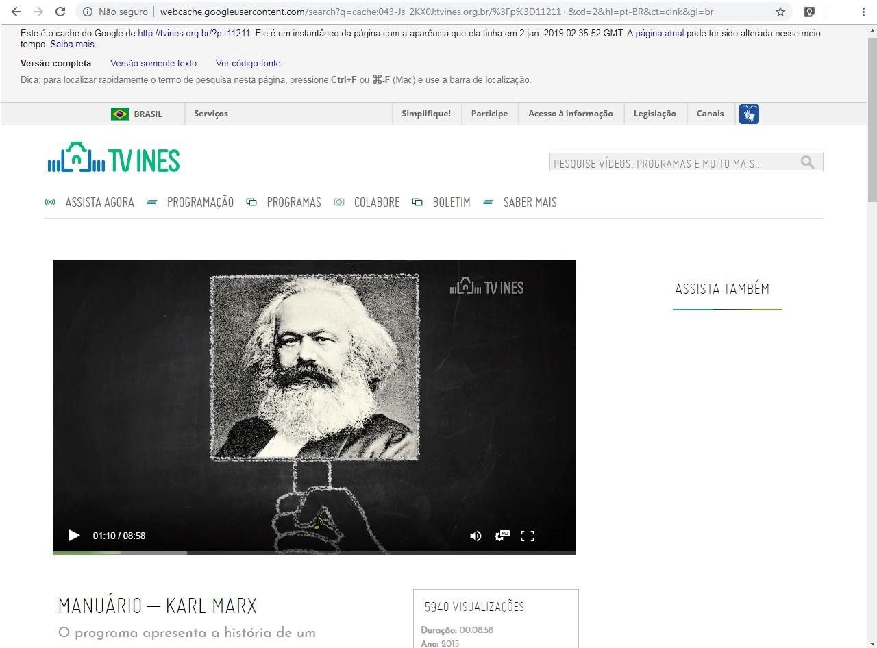 Vídeo sobre Karl Marx estava no ar no mínimo até 2 de janeiro