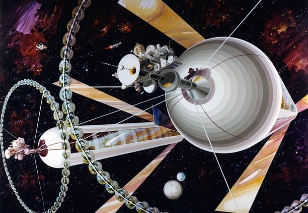 Vista exterior de uma colônia de cilindro duplo (Foto: Rick Guidice/NASA Ames Research Center)