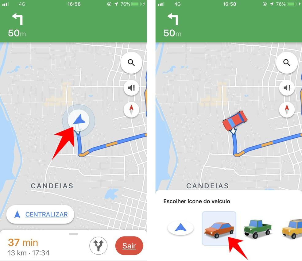 Mudando ícone do Google Maps por carrinho colorido — Foto: Reprodução/Rodrigo Fernandes