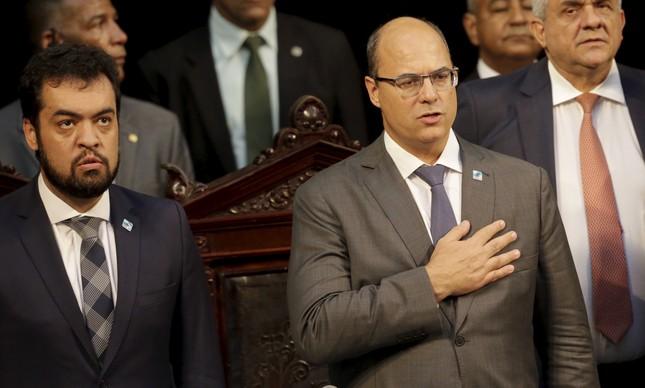 O vice-governador Cláudio Castro e o governador Wilson Witzel