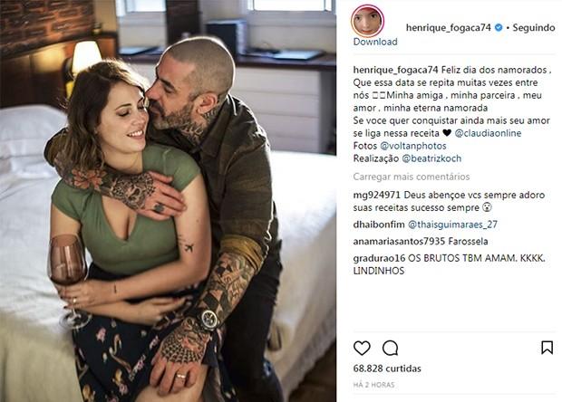 Henrique Fogaça e a mulher, Carine Ludvic (Foto: Reprodução/ Instagram)