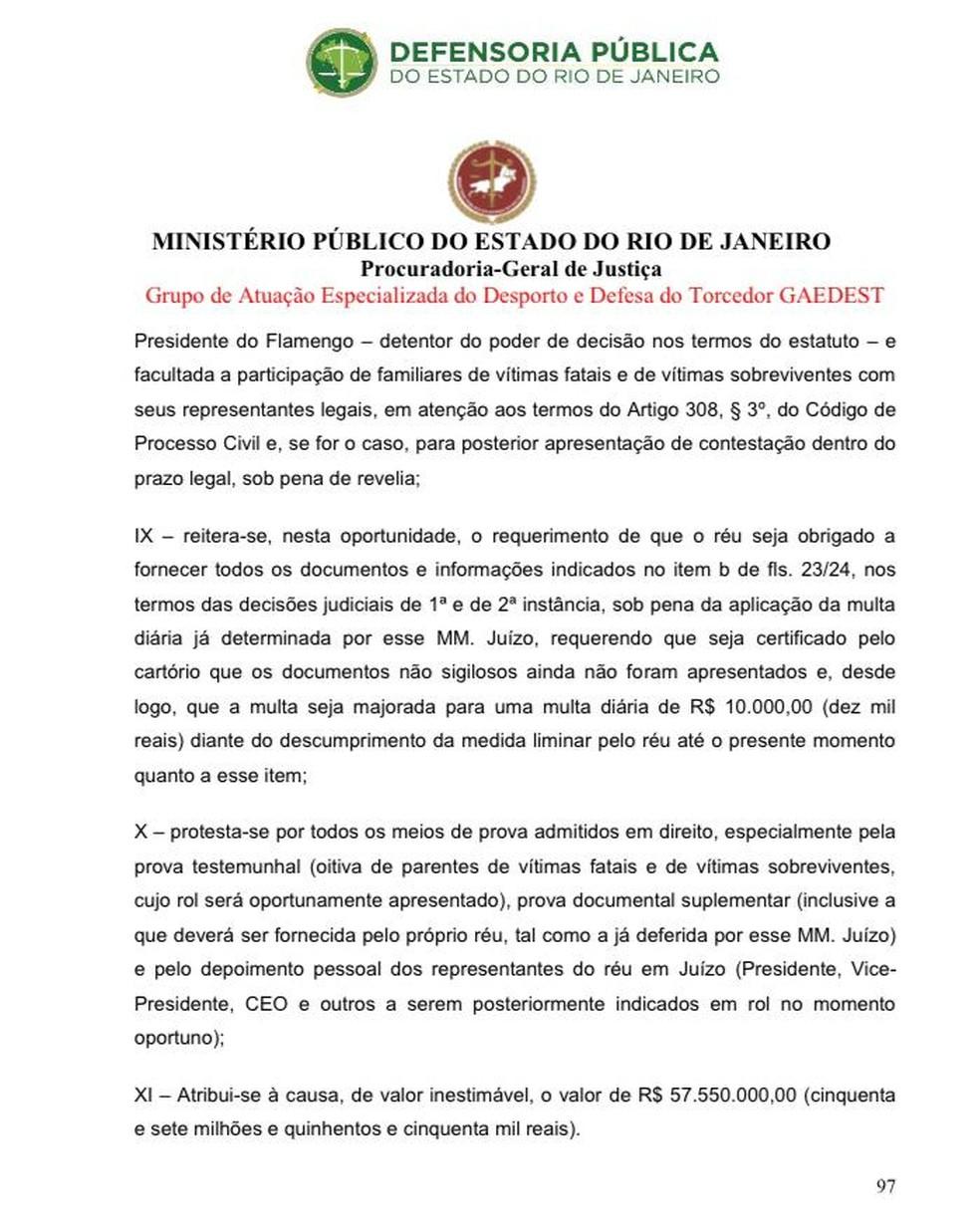 Ação MP-RJ contra o Flamengo — Foto: Reprodução