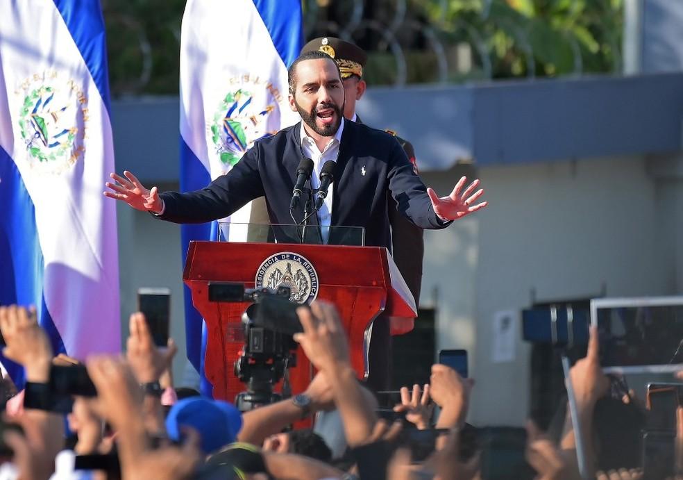 Nayib Bukele, presidente de El Salvador — Foto: Marvin Recinos/AFP