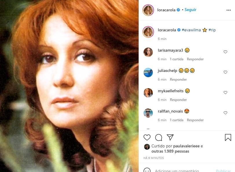 Carolina Dieckmann se despede de Eva Wilma (Foto: Reprodução Instagram)
