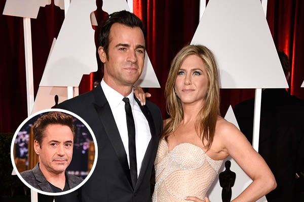 Justin Theroux, Jennifer Aniston e Robert Downey Jr (Foto: Getty Images)